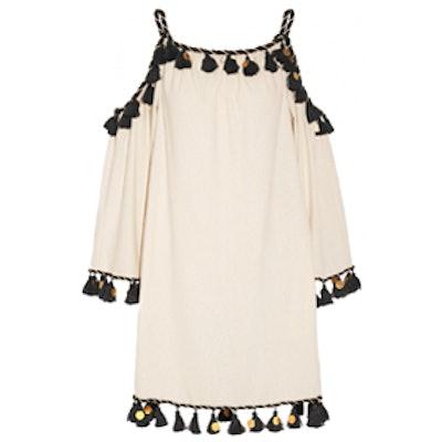 Off-The-Shoulder Embellished Silk-Noil Mini Dress