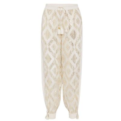Metallic Fil Coupé Silk-Blend Wide-Leg Pants