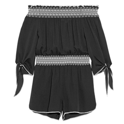 Off-The-Shoulder Embroidered Silk-Crepe Playsuit