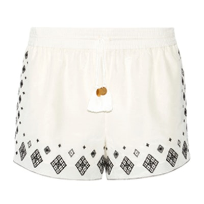 Embroidered Silk And Cotton-Blend Shorts
