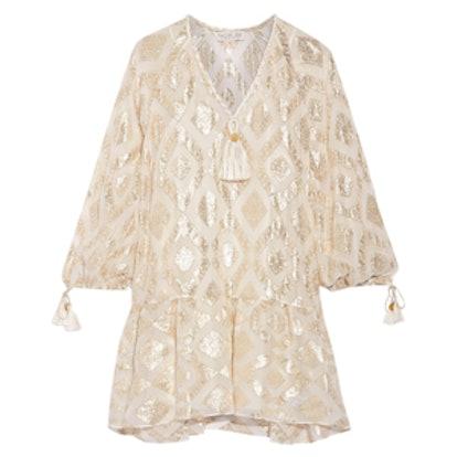 Tasseled Metallic Fil Coupé Silk-Blend Mini Dress