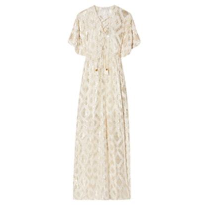 Lace-Up Metallic Fil Coupé Silk-Blend Maxi Dress