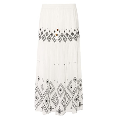 Embroidered Silk And Cotton-Blend Maxi Skirt
