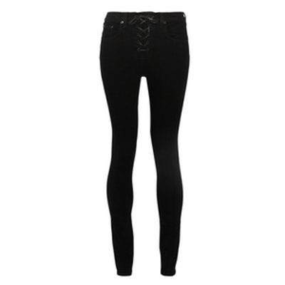 Lace-Up High-Rise Skinny Jeans