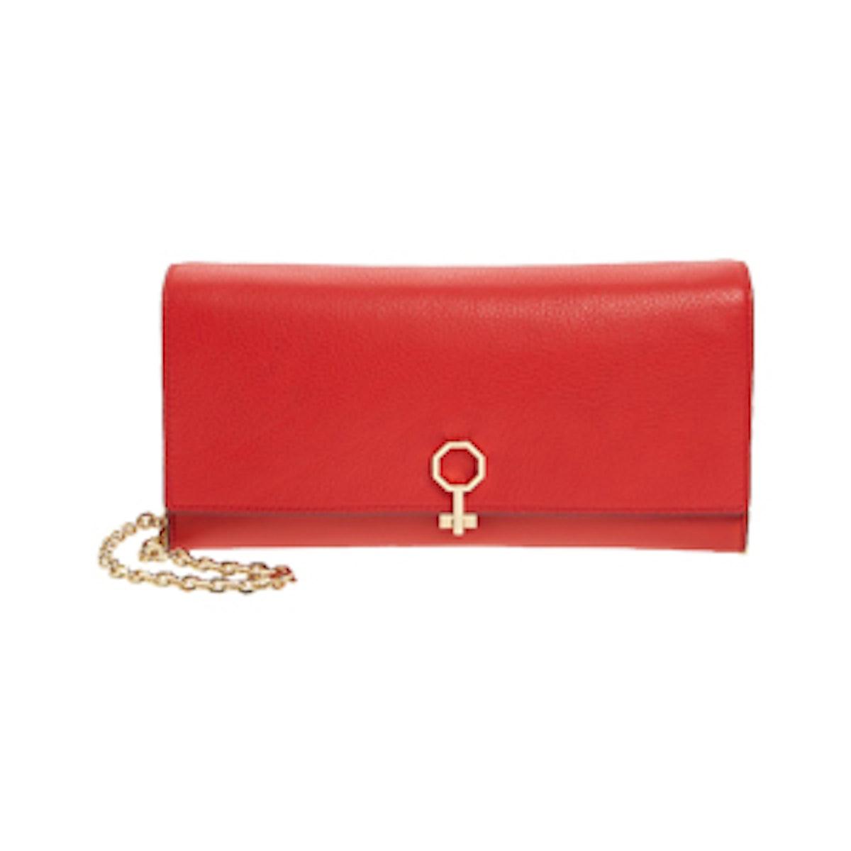 Yvet Leather Flap Clutch
