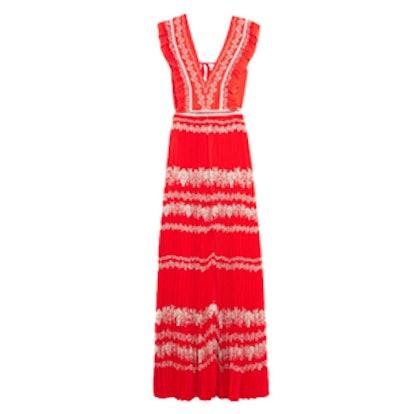 Ruffled Printed Plissé-Georgette Maxi Dress