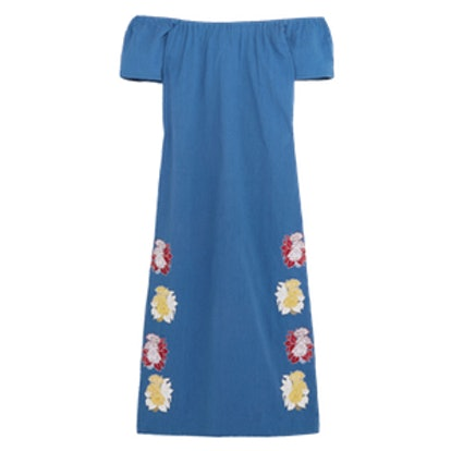 Off-The-Shoulder Embroidered Cotton Midi Dress