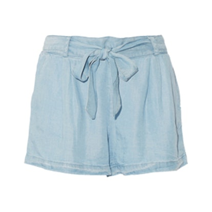 Belted Tencel-Chambray Shorts