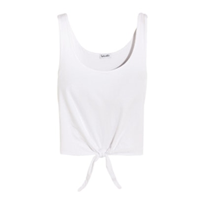 Tie-Front Cotton-Jersey Top