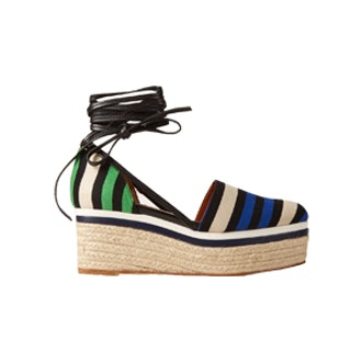 Striped Canvas Espadrille Wedge Sandals