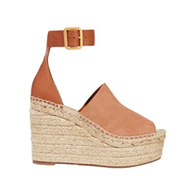 Suede And Leather Espadrille Wedge Sandals