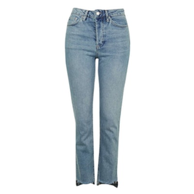 Stepped Hem Straight Leg Jeans