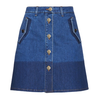 Button-down Denim Mini Skirt