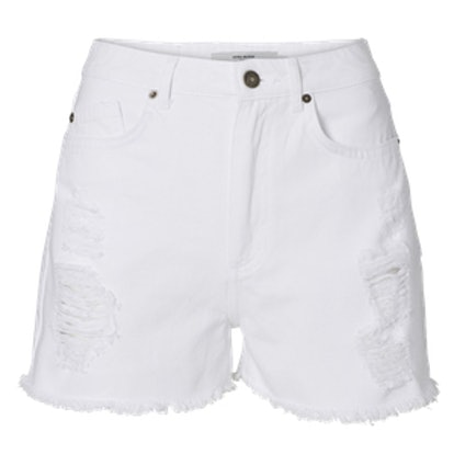 Highwaisted White Denim Shorts