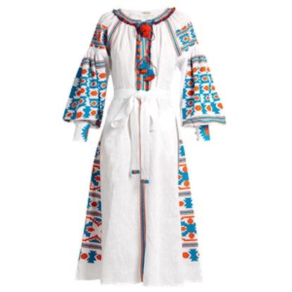 Mexico Embroidered Linen Midi Dress