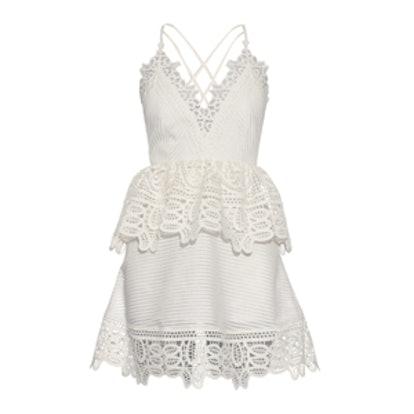 Lace-Peplum Open-Back Dress