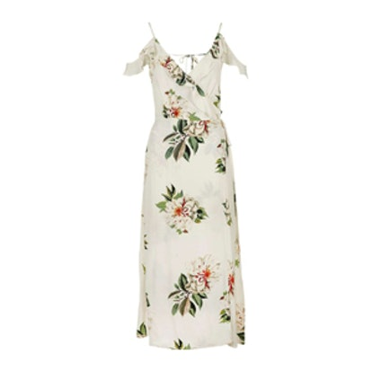 Floral Print Ruffle Cold Shoulder Wrap Maxi Dress