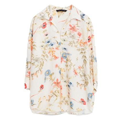 Printed Linen Blouse