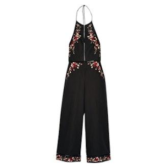 Sakura Embroidered Linen And Cotton-Blend Jumpsuit