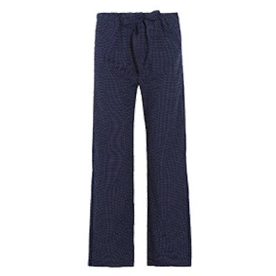 Ally Polka-Dot Cotton-Poplin Pajama Pants