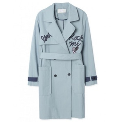 Flap Embroidery Trench Coat