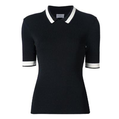 Short-Sleeve Contrast-Striped Ribbed-Knit Polo