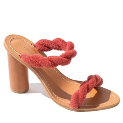 Twisted Terry Cloth & Leather Heel