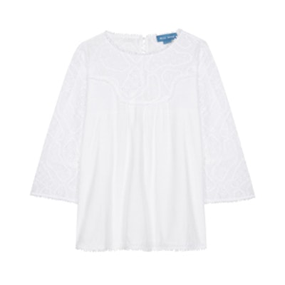 Broderie Anglaise Linen And Cotton Blouse