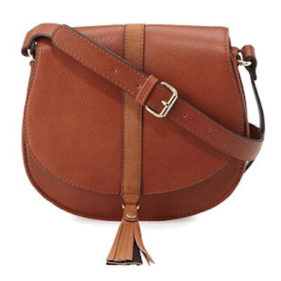 Tassel Faux-Leather Saddle Bag