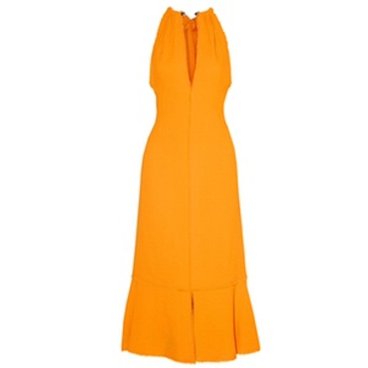 Fluted Crepe Midi Dress