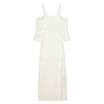 Off-The-Shoulder Cotton-Blend And Guipure Lace Maxi Dress