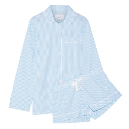 Phoebe Striped Cotton-Poplin Pajama Set