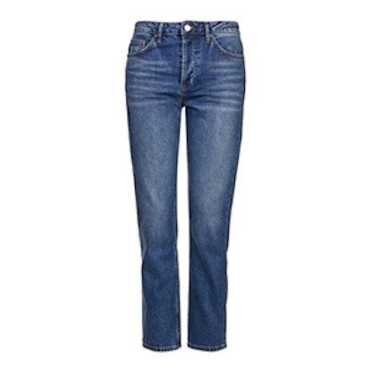 Moto Dark Blue Straight Leg Jeans