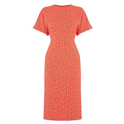 Squiggle Print Midi Dress
