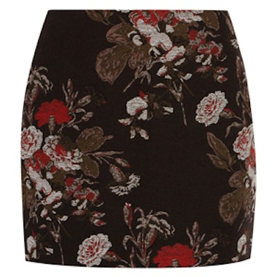 Cotton-Blend Floral-Brocade Mini Skirt