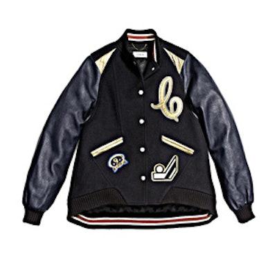 Oversized Varsity Jacket With Metallic Inserts