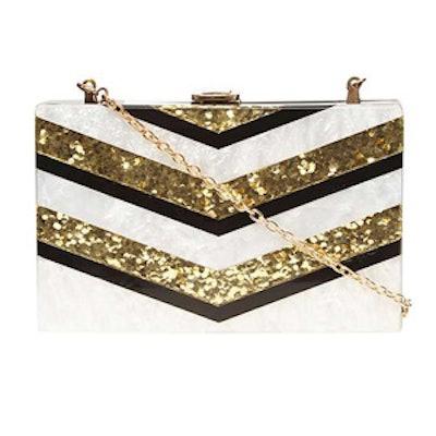 Stripe Resin Clutch Bag