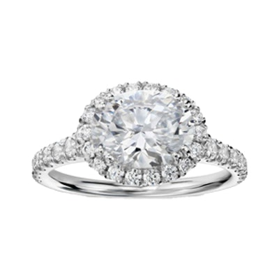 East-West Oval Halo Diamond Engagement Ring