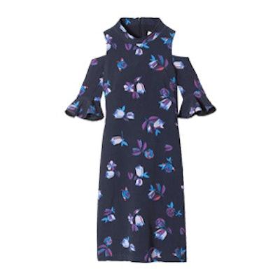 Short Sleeve Bellflower Print Dress