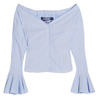 Off-The-Shoulder Striped Cotton-Poplin Top