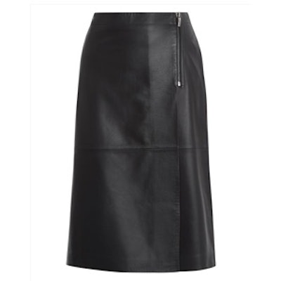 Leather Wrap Zip Detail Skirt