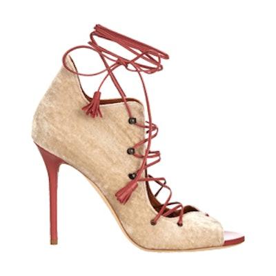 Savannah Lace-Up Velvet Sandals