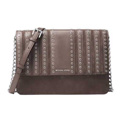 Brooklyn Large Grommet Suede And Leather Crossbody