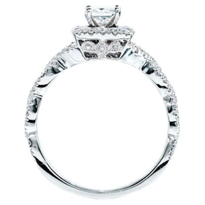 Princess-Cut Diamond Twist Shank Engagement Ring in 14K White Gold
