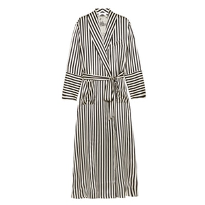 Striped Silk-Satin Robe