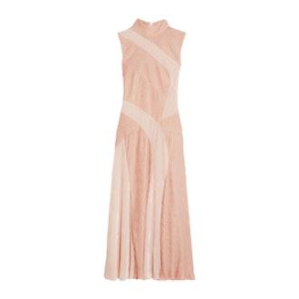 Velvet-Paneled Plissé-Chiffon Dress
