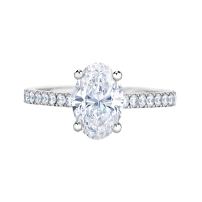 Classic Pavé Oval Cut Solitaire Ring