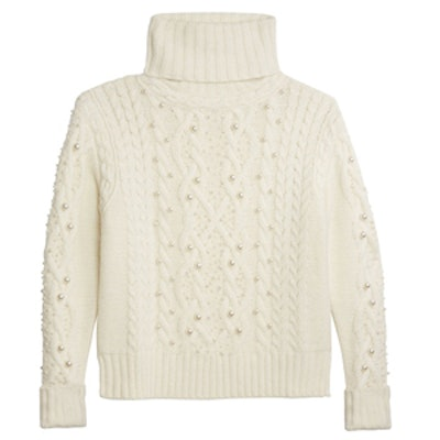 Polly Pearl-Adorned Turtleneck Sweater