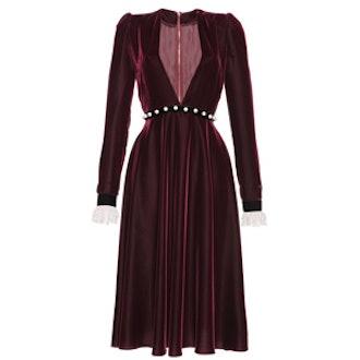 Deep V Velvet and Lace Midi Dress