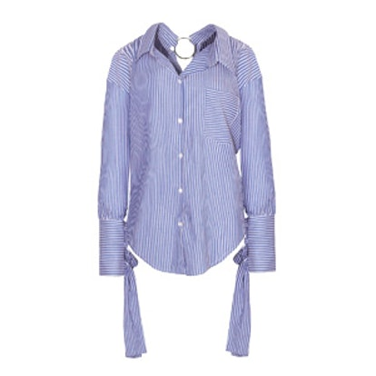 Nami Ring Back Striped Sleeve Tie Shirt